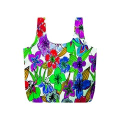 Background Of Hand Drawn Flowers With Green Hues Full Print Recycle Bags (s)