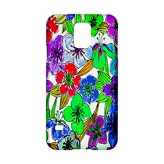 Background Of Hand Drawn Flowers With Green Hues Samsung Galaxy S5 Hardshell Case