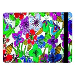 Background Of Hand Drawn Flowers With Green Hues Samsung Galaxy Tab Pro 12 2  Flip Case