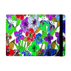 Background Of Hand Drawn Flowers With Green Hues iPad Mini 2 Flip Cases