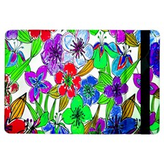 Background Of Hand Drawn Flowers With Green Hues iPad Air Flip