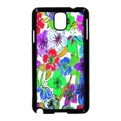 Background Of Hand Drawn Flowers With Green Hues Samsung Galaxy Note 3 Neo Hardshell Case (black)