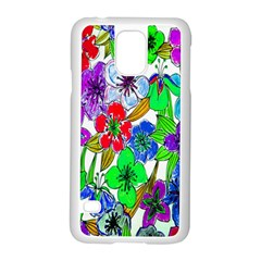 Background Of Hand Drawn Flowers With Green Hues Samsung Galaxy S5 Case (white)
