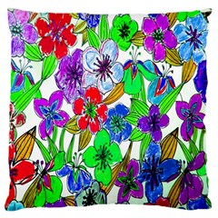 Background Of Hand Drawn Flowers With Green Hues Large Flano Cushion Case (one Side)