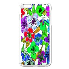 Background Of Hand Drawn Flowers With Green Hues Apple Iphone 6 Plus/6s Plus Enamel White Case