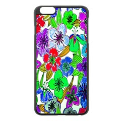 Background Of Hand Drawn Flowers With Green Hues Apple Iphone 6 Plus/6s Plus Black Enamel Case