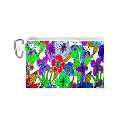 Background Of Hand Drawn Flowers With Green Hues Canvas Cosmetic Bag (S)