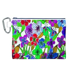 Background Of Hand Drawn Flowers With Green Hues Canvas Cosmetic Bag (l)