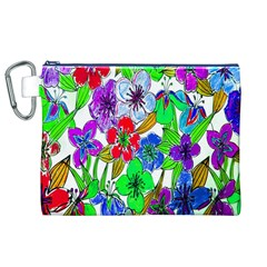 Background Of Hand Drawn Flowers With Green Hues Canvas Cosmetic Bag (XL)