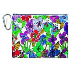 Background Of Hand Drawn Flowers With Green Hues Canvas Cosmetic Bag (XXL)