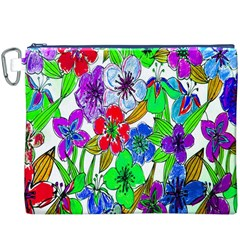 Background Of Hand Drawn Flowers With Green Hues Canvas Cosmetic Bag (XXXL)