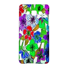 Background Of Hand Drawn Flowers With Green Hues Samsung Galaxy A5 Hardshell Case