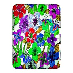 Background Of Hand Drawn Flowers With Green Hues Samsung Galaxy Tab 4 (10.1 ) Hardshell Case