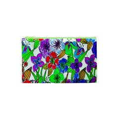Background Of Hand Drawn Flowers With Green Hues Cosmetic Bag (xs)