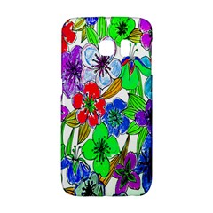 Background Of Hand Drawn Flowers With Green Hues Galaxy S6 Edge