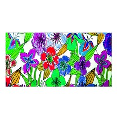 Background Of Hand Drawn Flowers With Green Hues Satin Shawl