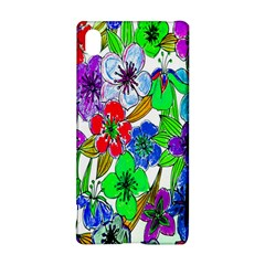 Background Of Hand Drawn Flowers With Green Hues Sony Xperia Z3+