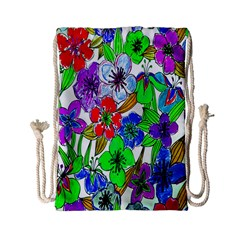 Background Of Hand Drawn Flowers With Green Hues Drawstring Bag (small)
