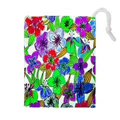 Background Of Hand Drawn Flowers With Green Hues Drawstring Pouches (Extra Large)