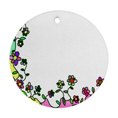 Floral Border Cartoon Flower Doodle Ornament (round)