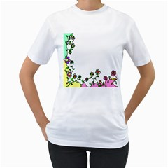 Floral Border Cartoon Flower Doodle Women s T-Shirt (White) (Two Sided)