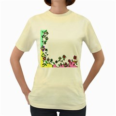 Floral Border Cartoon Flower Doodle Women s Yellow T-Shirt