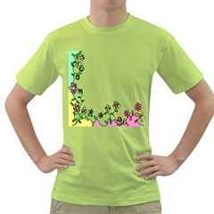 Floral Border Cartoon Flower Doodle Green T-Shirt