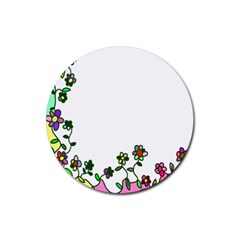 Floral Border Cartoon Flower Doodle Rubber Round Coaster (4 Pack)