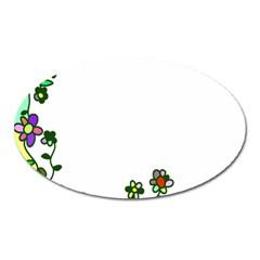 Floral Border Cartoon Flower Doodle Oval Magnet