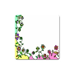 Floral Border Cartoon Flower Doodle Square Magnet