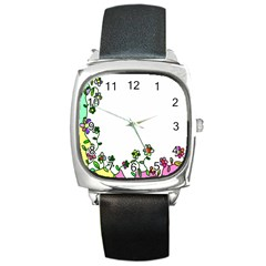 Floral Border Cartoon Flower Doodle Square Metal Watch