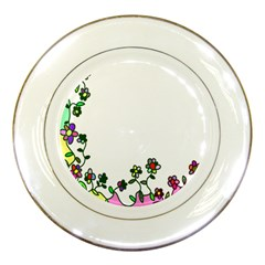 Floral Border Cartoon Flower Doodle Porcelain Plates