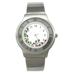 Floral Border Cartoon Flower Doodle Stainless Steel Watch