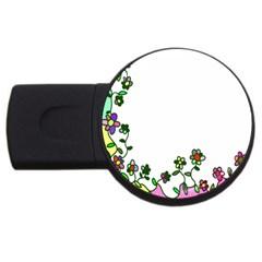 Floral Border Cartoon Flower Doodle USB Flash Drive Round (4 GB)