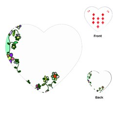 Floral Border Cartoon Flower Doodle Playing Cards (Heart)