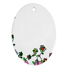 Floral Border Cartoon Flower Doodle Oval Ornament (two Sides)
