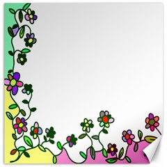 Floral Border Cartoon Flower Doodle Canvas 20  x 20