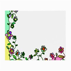 Floral Border Cartoon Flower Doodle Small Glasses Cloth (2-Side)