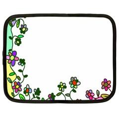 Floral Border Cartoon Flower Doodle Netbook Case (large)