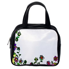 Floral Border Cartoon Flower Doodle Classic Handbags (One Side)