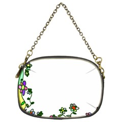 Floral Border Cartoon Flower Doodle Chain Purses (two Sides)