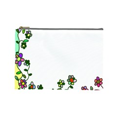 Floral Border Cartoon Flower Doodle Cosmetic Bag (Large)