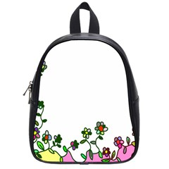 Floral Border Cartoon Flower Doodle School Bags (small)