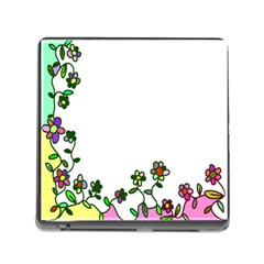 Floral Border Cartoon Flower Doodle Memory Card Reader (Square)