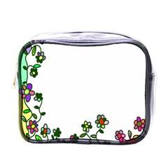 Floral Border Cartoon Flower Doodle Mini Toiletries Bags