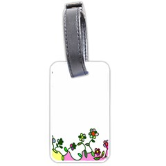 Floral Border Cartoon Flower Doodle Luggage Tags (One Side)