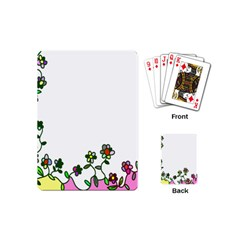 Floral Border Cartoon Flower Doodle Playing Cards (Mini)