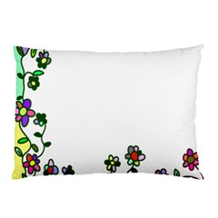 Floral Border Cartoon Flower Doodle Pillow Case (Two Sides)