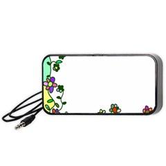 Floral Border Cartoon Flower Doodle Portable Speaker (Black)