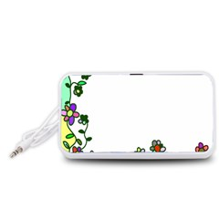 Floral Border Cartoon Flower Doodle Portable Speaker (white)